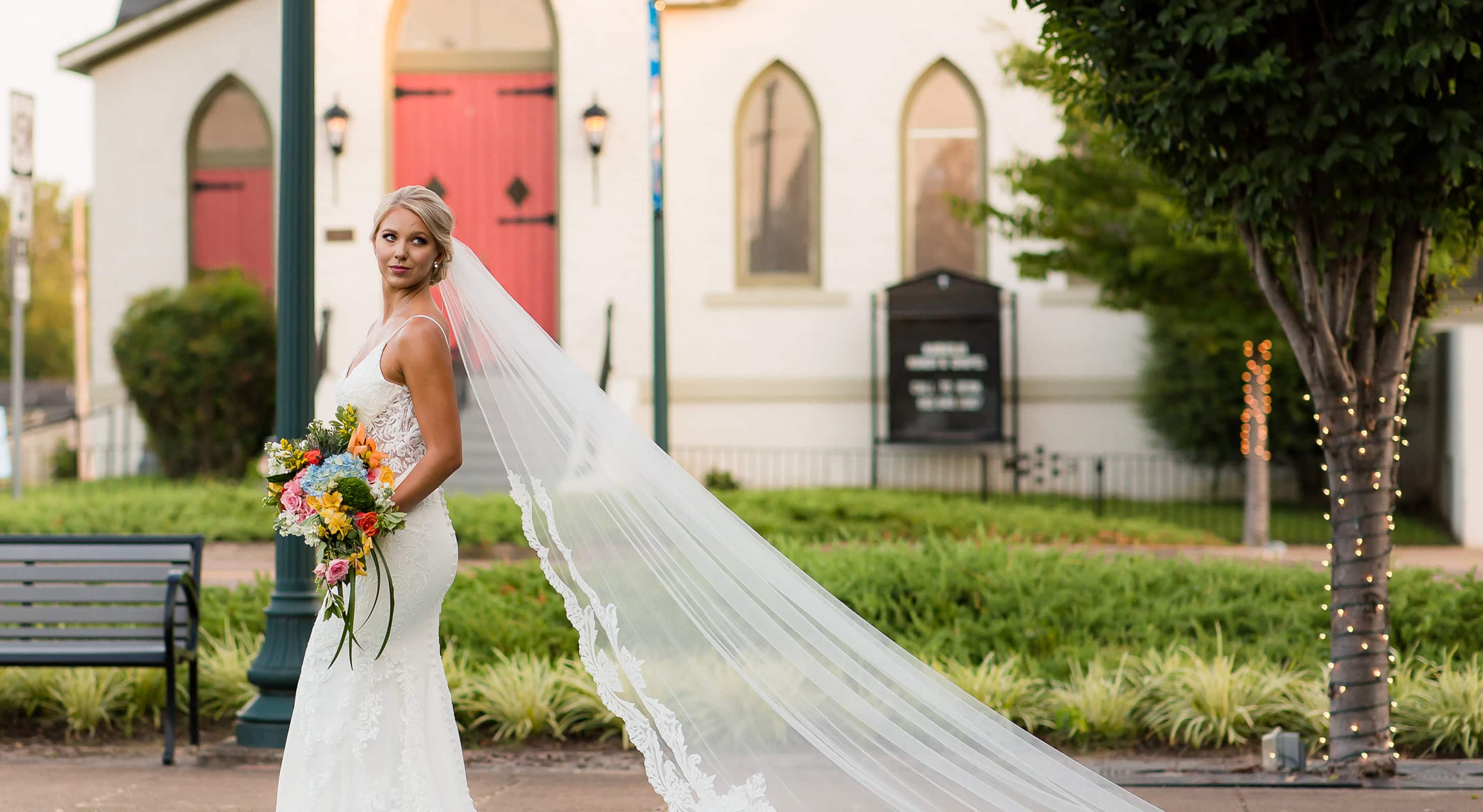 Bride in front of our West Tennessee wedding venue