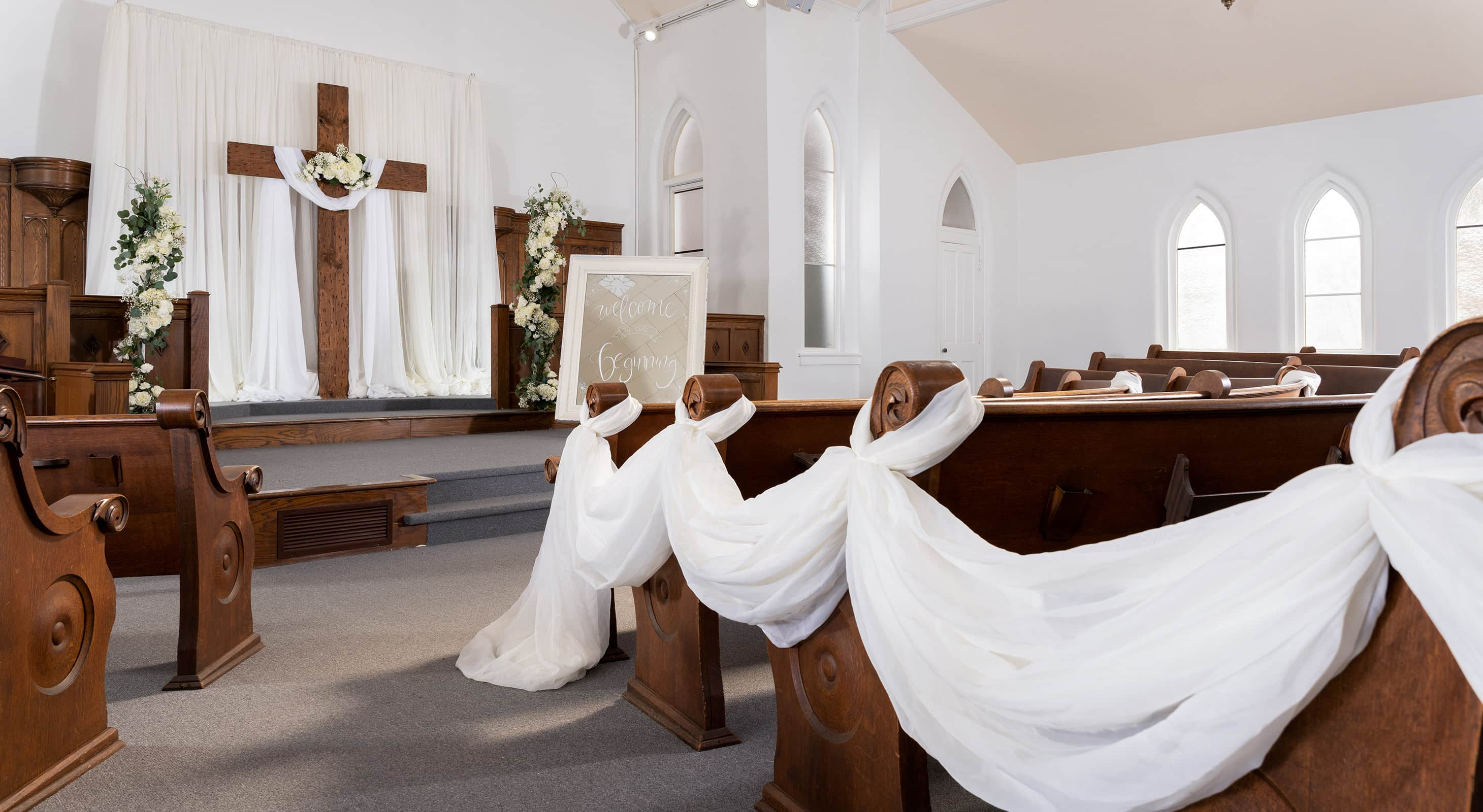 pews at our West Tennessee wedding chapel