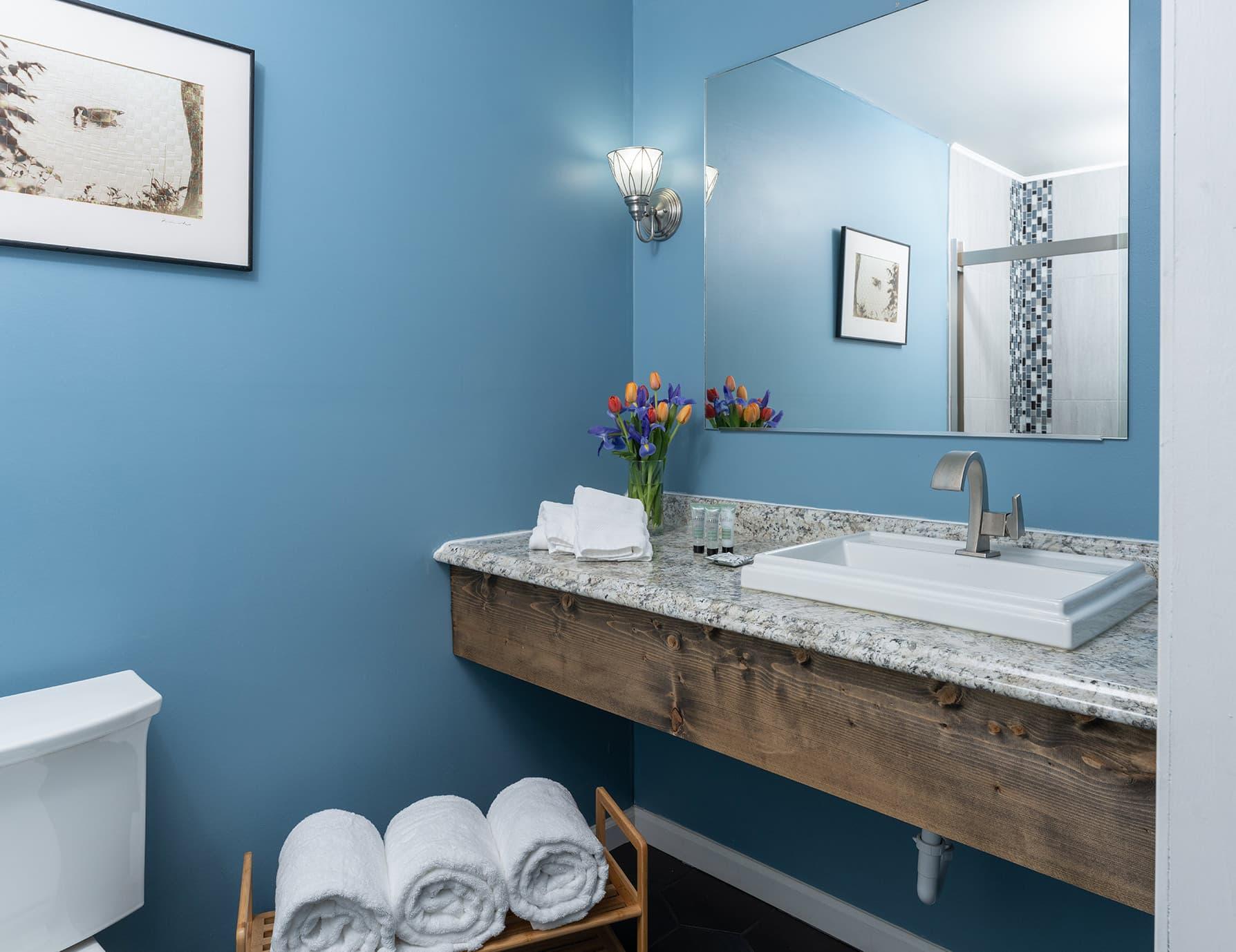 Flyways room bathroom - romantic lodging in West Tennessee