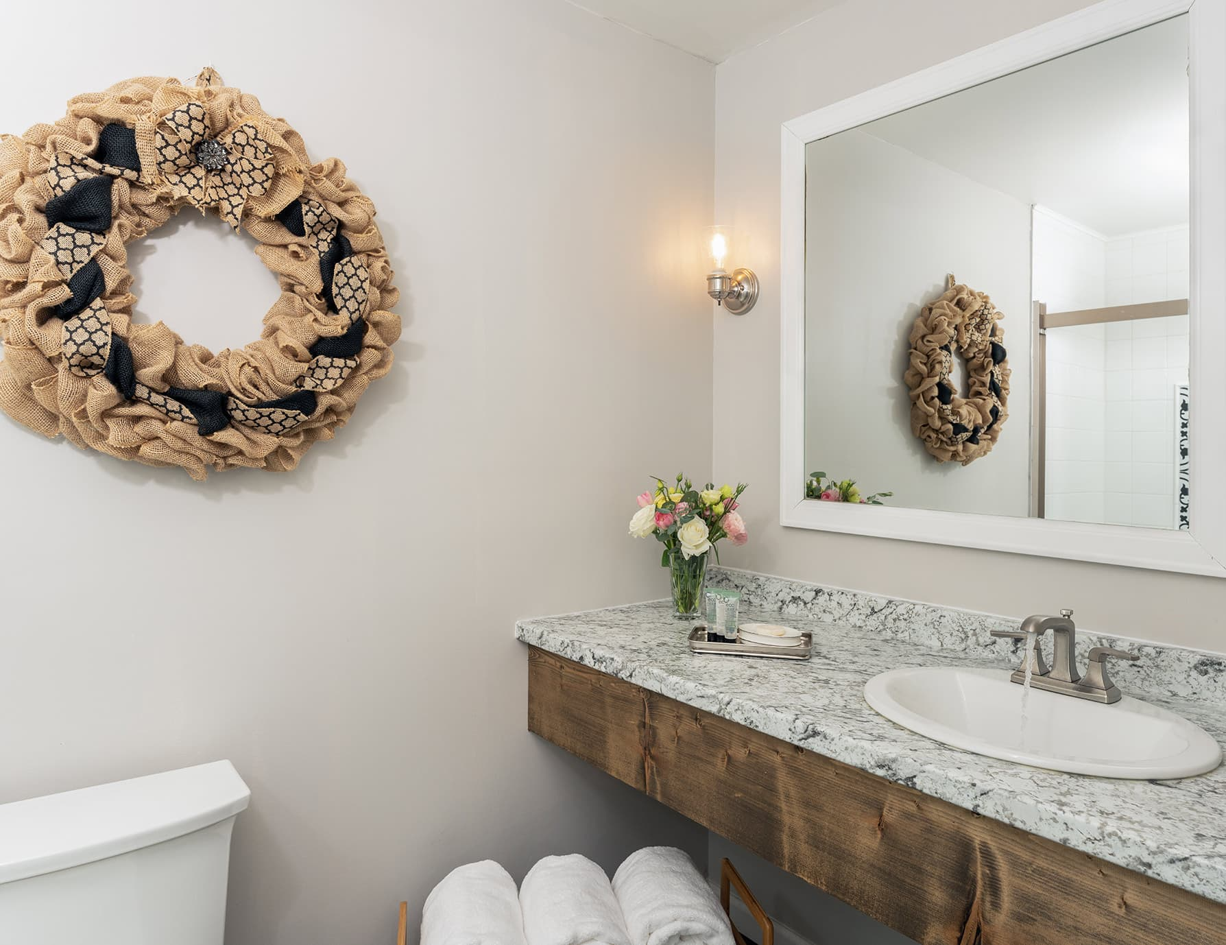 The Historian room bathroom at our luxury inn near Memphis