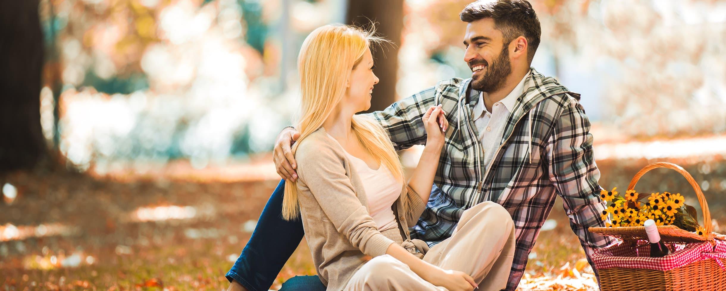 romantic couple enjoying a picnic