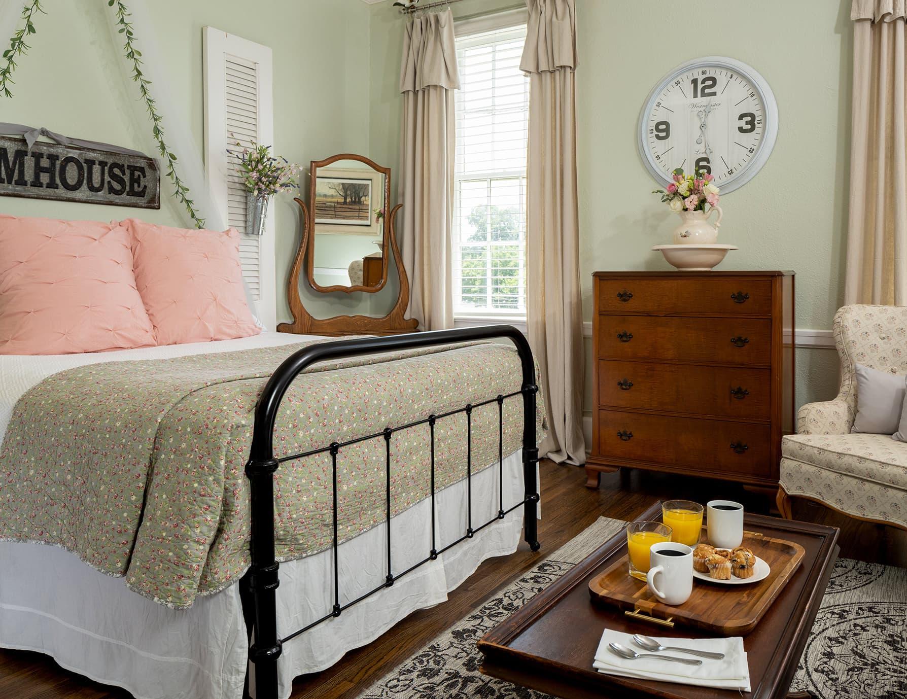 Suite Magnolia bed at our B&B getaway near Memphis