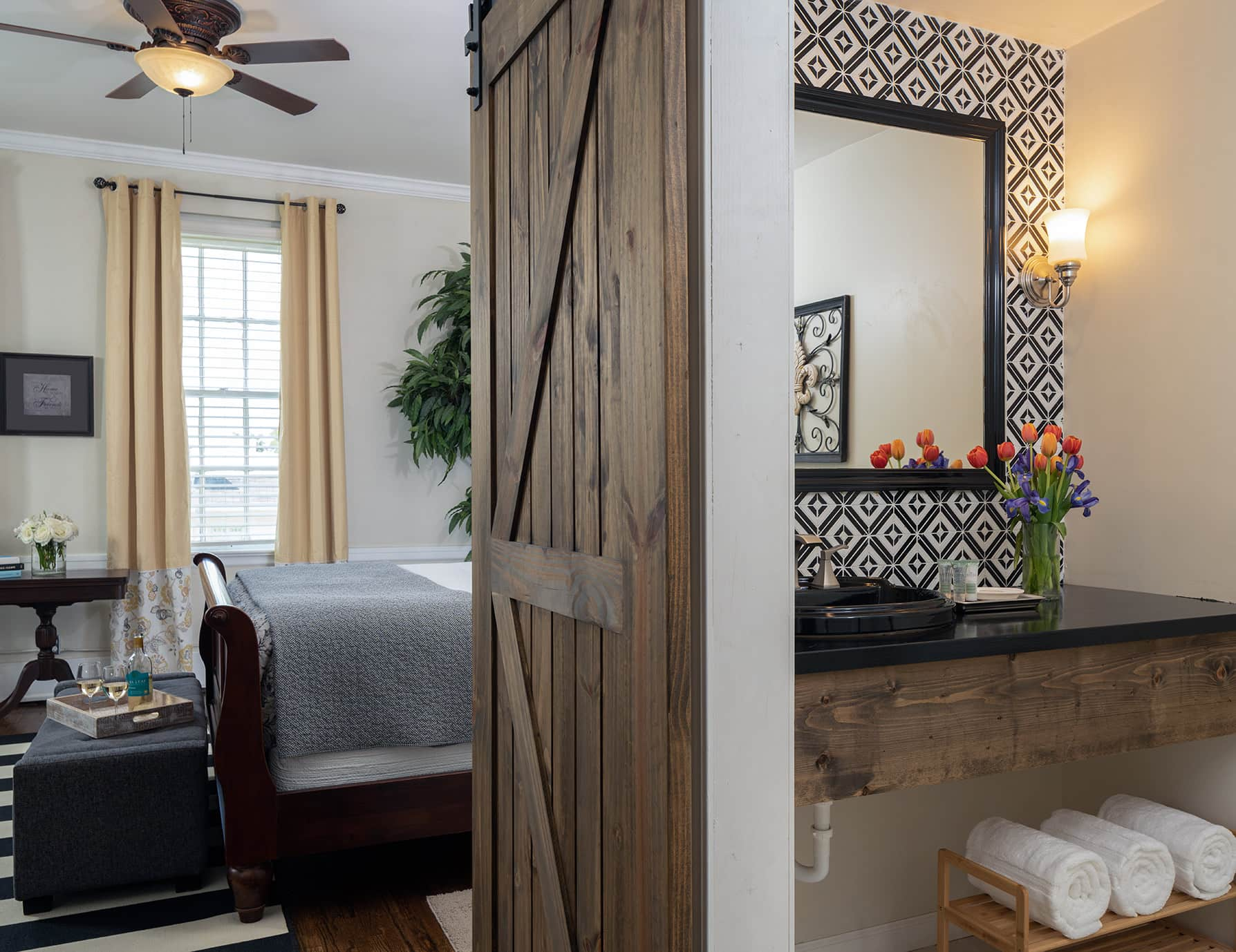 The Wellington room bed and bathroom