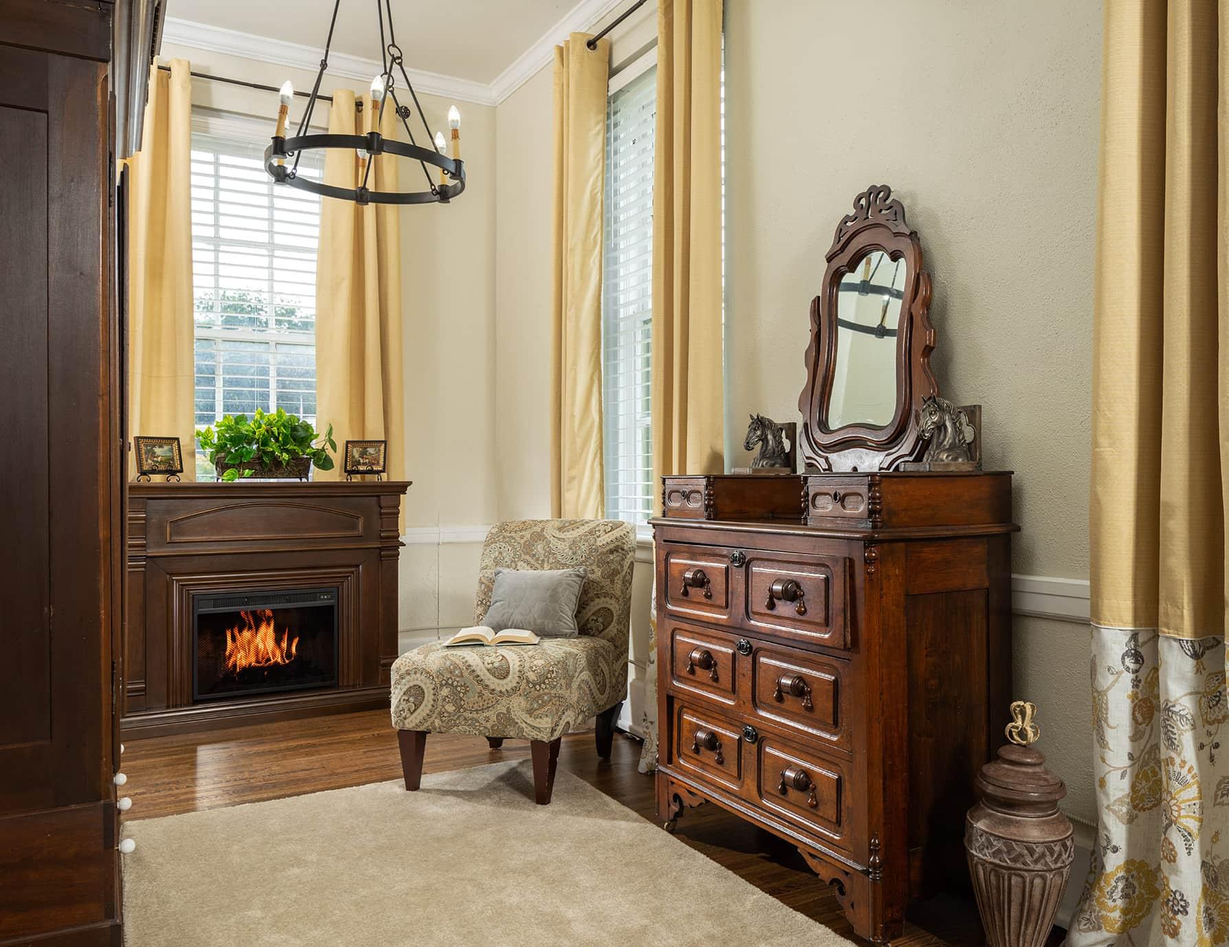 The Wellington room fireplace - romantic getaway near Memphis