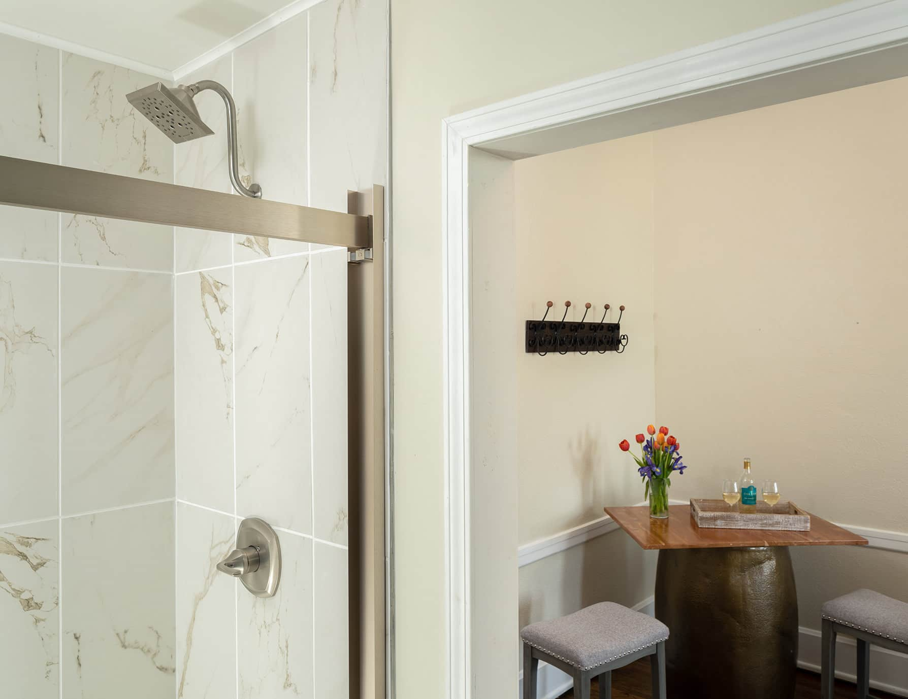 The Wellington room shower and small table