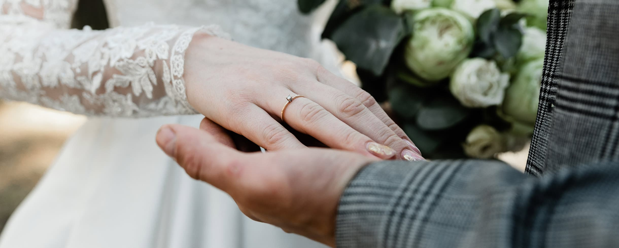 romantic wedding couple holding hands at our West Tennessee wedding venue