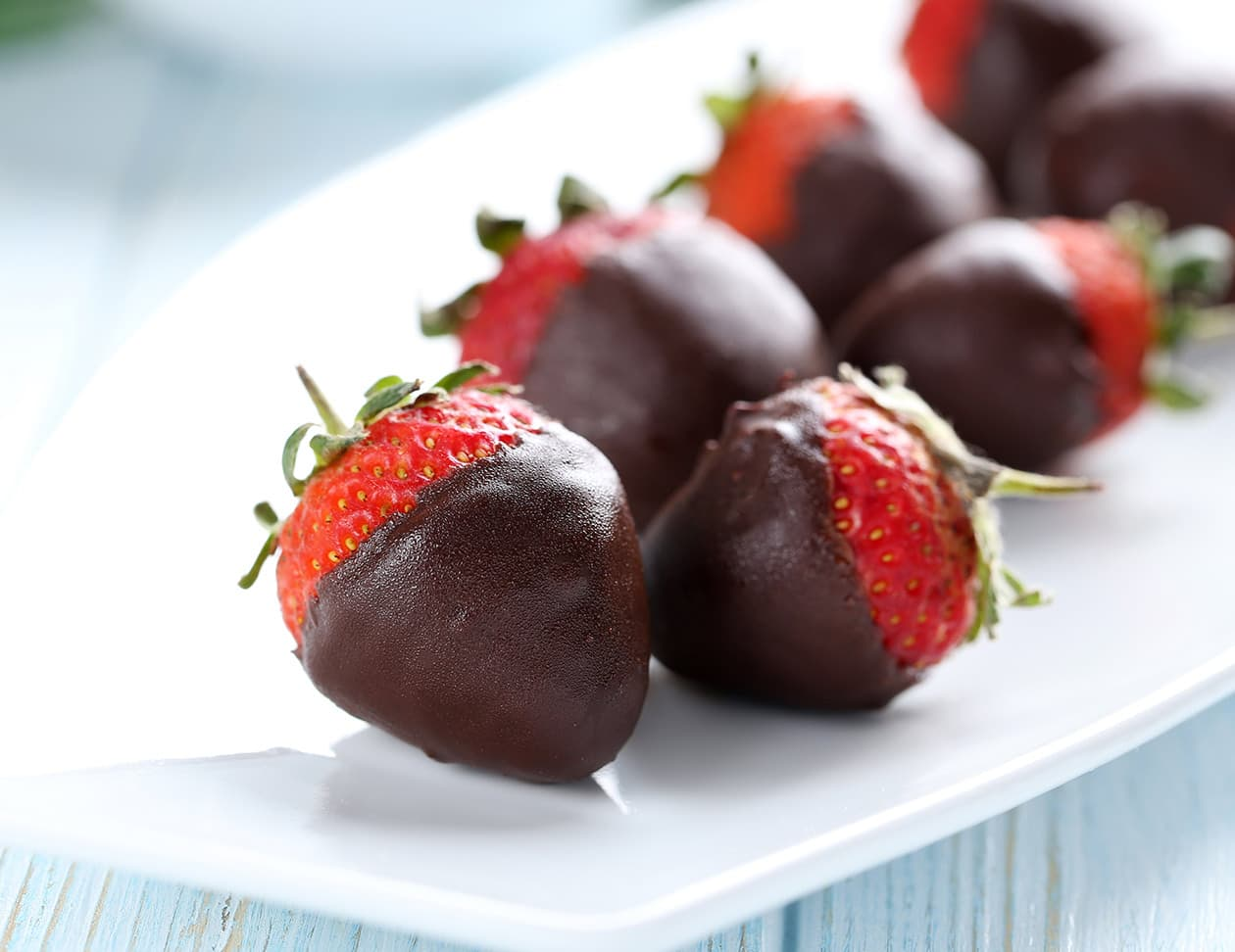 chocolate dipped strawberries on a white plate