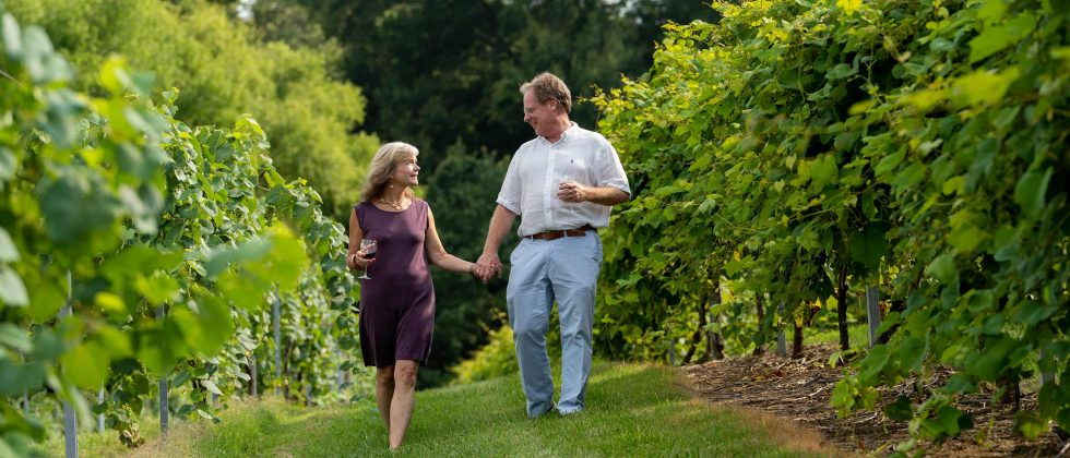 couple holding hands on a wine tour